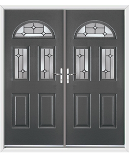 Tennessee French Rockdoor in Slate Grey with Linear