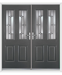 Jacobean French Rockdoor in Slate Grey with Linear