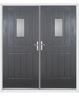 English Cottage French Rockdoor in Slate Grey with Glazing