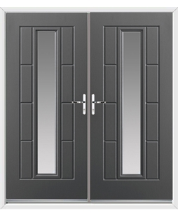 Vermont French Rockdoor in Slate Grey with Glazing