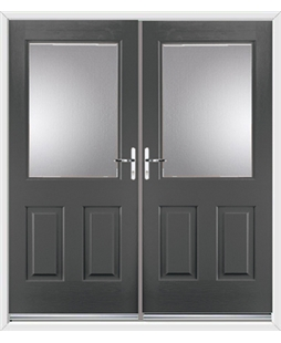 Windsor French Rockdoor in Slate Grey with Glazing