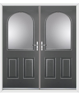 Kentucky French Rockdoor in Slate Grey with Glazing