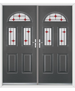 Tennessee French Rockdoor in Slate Grey with Red Diamonds