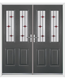 Jacobean French Rockdoor in Slate Grey with Red Diamonds