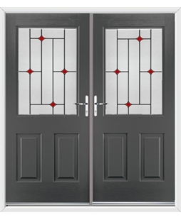 Windsor French Rockdoor in Slate Grey with Red Diamonds