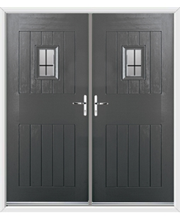 Cottage Spy View French Rockdoor in Slate Grey with Square Lead