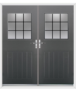 Cottage View Light French Rockdoor in Slate Grey with Square Lead