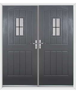English Cottage French Rockdoor in Slate Grey with Square Lead