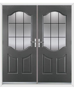 Georgia French Rockdoor in Slate Grey with Square Lead