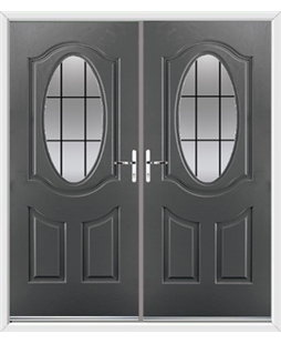 Montana French Rockdoor in Slate Grey with Square Lead