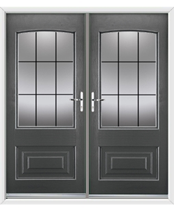 Portland French Rockdoor in Slate Grey with Square Lead