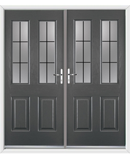 Jacobean French Rockdoor in Slate Grey with Square Lead