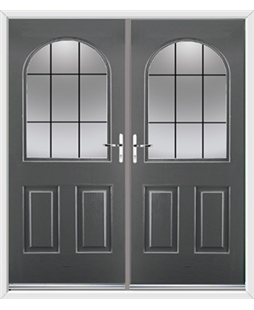 Kentucky French Rockdoor in Slate Grey with Square Lead