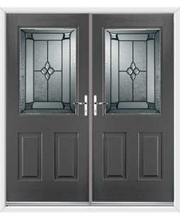 Windsor French Rockdoor in Slate Grey with Titania Glazing