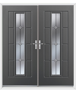 Vermont French Rockdoor in Slate Grey with Trio