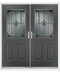 Windsor French Rockdoor in Slate Grey with Triton Glazing