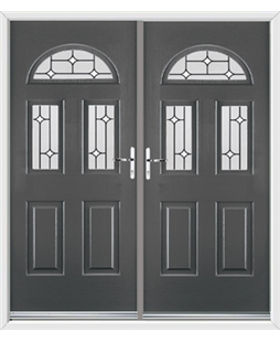 Tennessee French Rockdoor in Slate Grey with White Diamonds