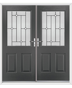 Windsor French Rockdoor in Slate Grey with White Diamonds
