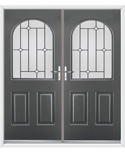Kentucky French Rockdoor in Slate Grey with White Diamonds