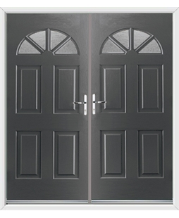 Carolina French Rockdoor in Slate Grey with Gluechip Glazing