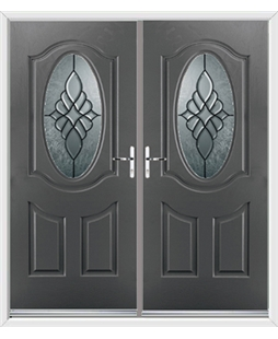Montana French Rockdoor in Slate Grey with Renaissance Glazing