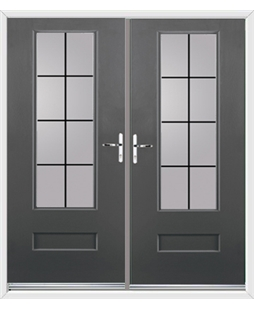 Vogue French Rockdoor in Slate Grey with Square Lead