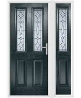 The Cardiff Composite Door in Grey (Anthracite) with Zinc Art Clarity and matching Side Panel
