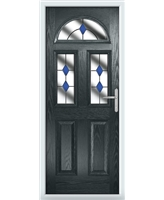 The Glasgow Composite Door in Grey (Anthracite) with Blue Diamonds