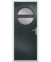 The Queensbury Composite Door in Grey (Anthracite) with Clear Glazing
