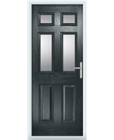 The Oxford Composite Door in Grey (Anthracite) with Clear Glazing
