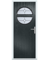 The Queensbury Composite Door in Grey (Anthracite) with Flair Glazing