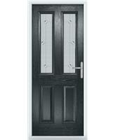 The Cardiff Composite Door in Grey (Anthracite) with Jewel Glazing