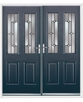 Jacobean French Rockdoor in Anthracite Grey with Linear