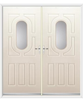 Arcacia French Rockdoor in Cream with Clear Glazing