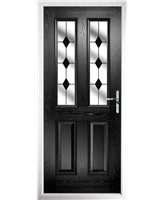 The Cardiff Composite Door in Black with Black Diamonds