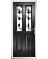 The Aberdeen Composite Door in Black with Black Diamonds