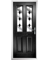 The Birmingham Composite Door in Black with Black Diamonds