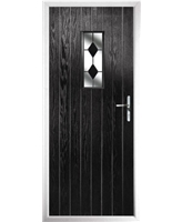 The Taunton Composite Door in Black with Black Diamonds