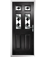 The Oxford Composite Door in Black With Black Diamonds