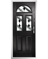 The Glasgow Composite Door in Black with Black Diamonds
