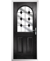 The Edinburgh Composite Door in Black with Black Diamonds