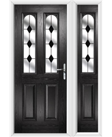 The Aberdeen Composite Door in Black with Black Diamonds and matching Side Panel