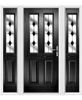 The Cardiff Composite Door in Black with Black Diamonds and matching Side Panels