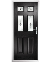 The Oxford Composite Door in Black with Black Murano