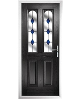 The Aberdeen Composite Door in Black with Blue Diamonds