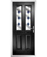 The Birmingham Composite Door in Black with Blue Diamonds