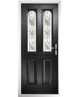 The Aberdeen Composite Door in Black with Brass Art Clarity