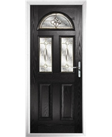 The Glasgow Composite Door in Black with Brass Art Clarity