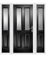The Cardiff Composite Door in Black with Clear Glazing and matching Side Panels