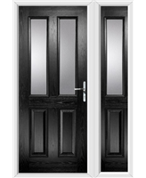 The Cardiff Composite Door in Black with Clear Glazing and matching Side Panel